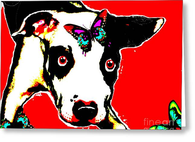 Greeting Card featuring the painting Dog And Butterfly by Jann Paxton