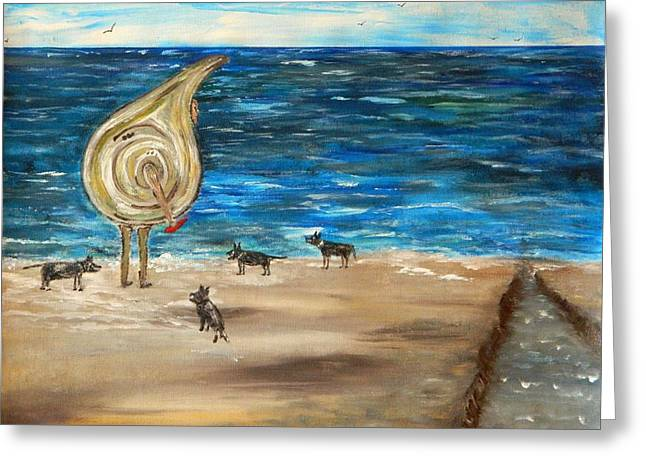 Greeting Card featuring the painting Dog Beach by Everette McMahan jr