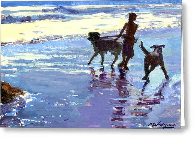 Dog At Play Greeting Cards - Dog Beach  Greeting Card by Michael Jacques