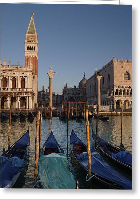 Doges Palace And San Marcos Bell Tower Greeting Card by Jim Richardson