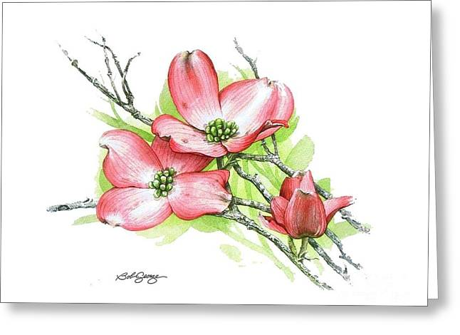 Greeting Card featuring the painting Dogwood Blossom by Bob  George