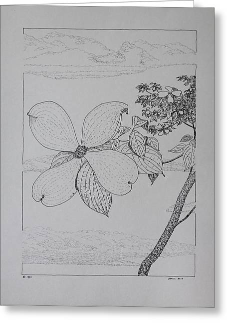 Greeting Card featuring the drawing Dogwood  by Daniel Reed