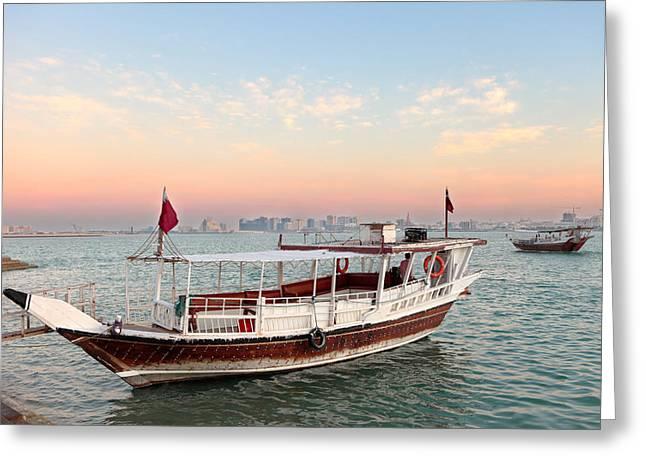 Doha Bay Qatar Sunset Greeting Card by Paul Cowan