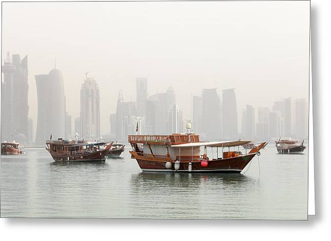 Doha In The Mist Greeting Card by Paul Cowan