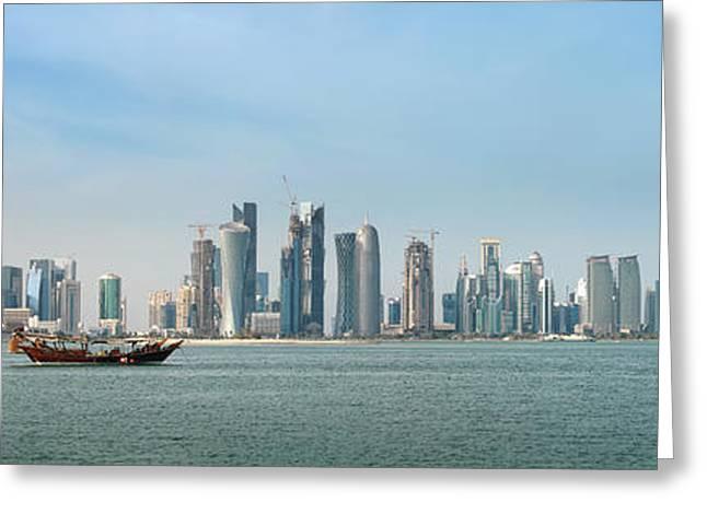 Doha Skyline Feb 2012 Greeting Card by Paul Cowan