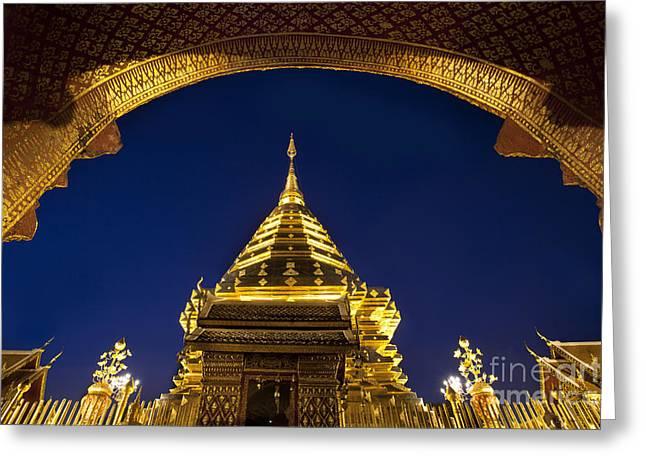 Doi Suthep Temple Greeting Card by Anek Suwannaphoom