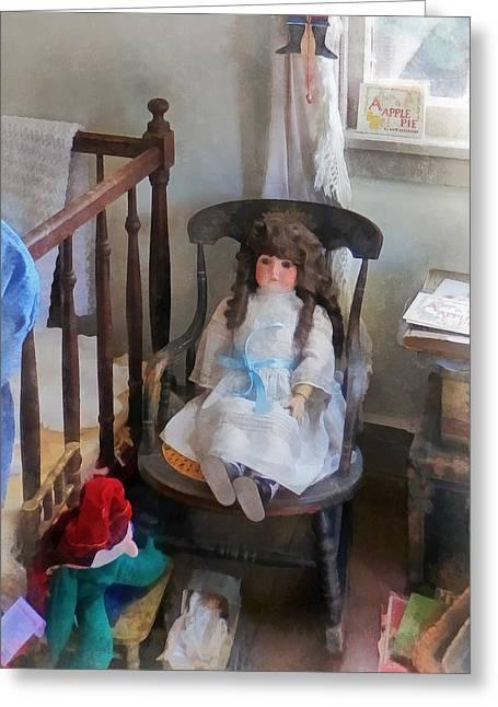 Doll In Nursery Greeting Card by Susan Savad