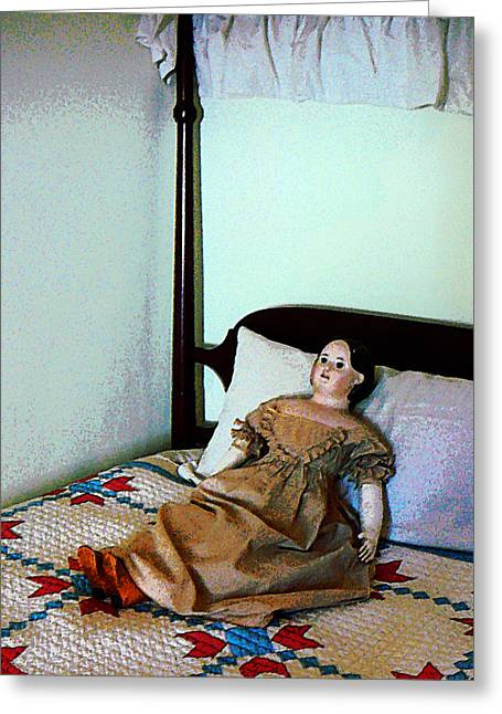Doll On Four Poster Bed Greeting Card by Susan Savad