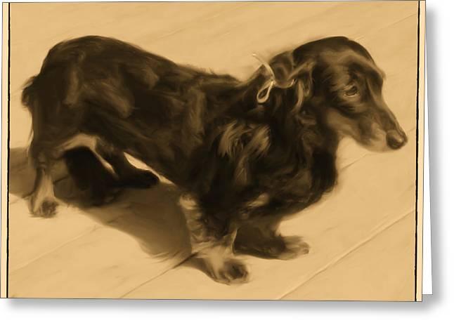 Dolled Up Dachshund 2 Greeting Card by Susan  Lipschutz