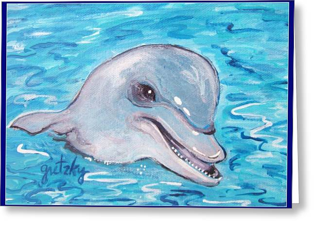 Dolphin 2 Greeting Card by Paintings by Gretzky