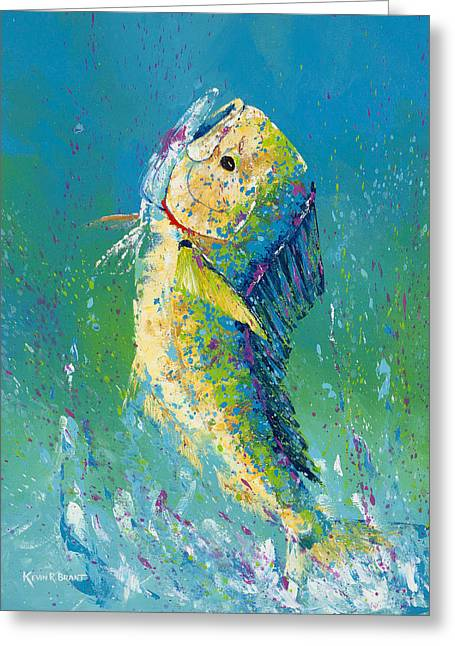 Dolphin Pallet Knife Greeting Card by Kevin Brant