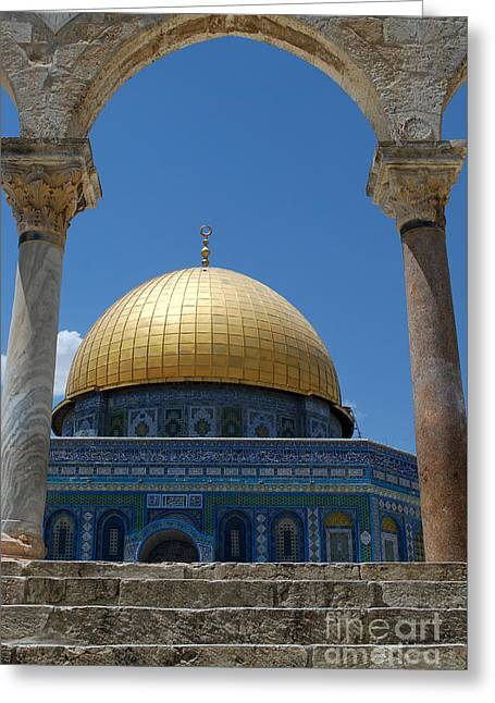 Greeting Card featuring the photograph Dome Of The Rock  by Eva Kaufman