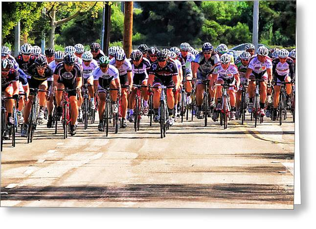 Dominguez Hill Cycle Race Greeting Card by Clare VanderVeen