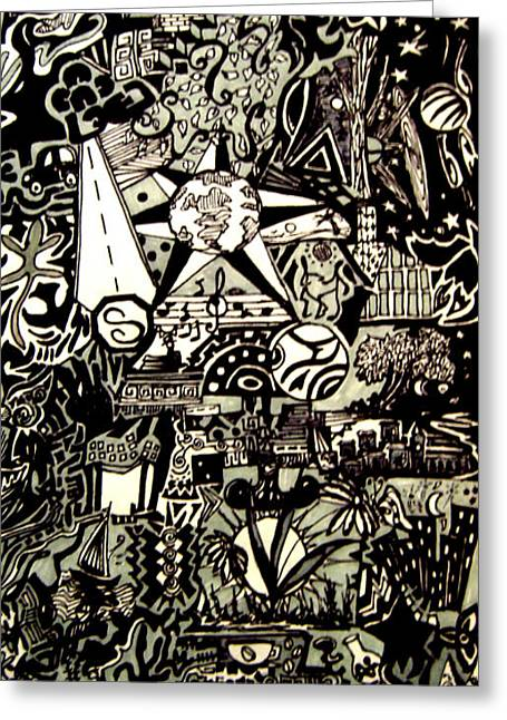 Doodles Black And White Greeting Card by MikAn 'sArt