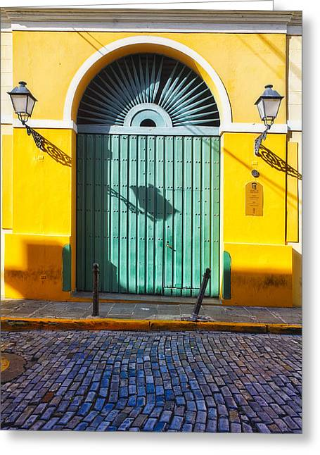 Door And Cobblestone Street In Old San Juan Greeting Card by George Oze