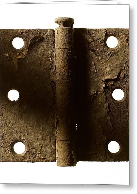 Door Hinge Greeting Card by Tony Cordoza