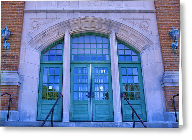 Doors To Old High School  Greeting Card