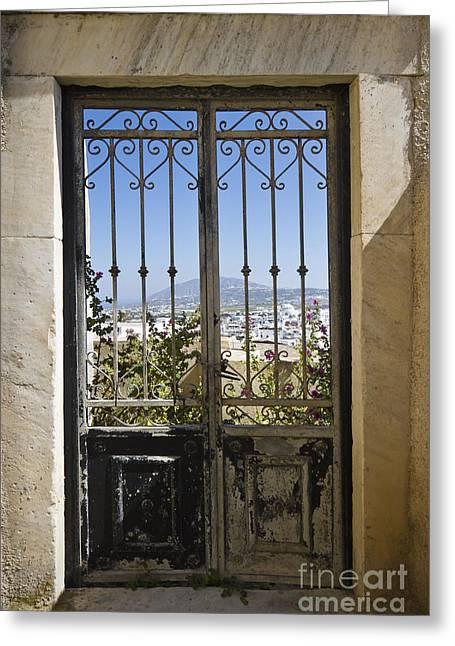 Doorway To Santorini Greeting Card by Dennis Hedberg
