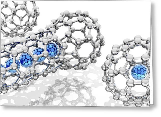 Doping Buckyball Molecules, Artwork Greeting Card by Laguna Design