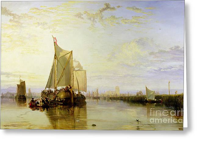 Dort Or Dordrecht - The Dort Packet-boat From Rotterdam Becalmed Greeting Card by Joseph Mallord William Turner