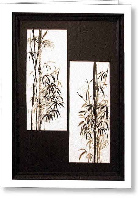 Greeting Card featuring the painting Double Bamboo by Alethea McKee