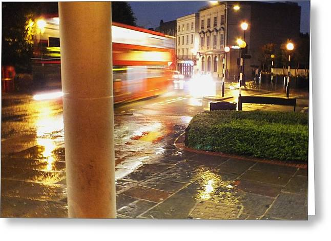 Double Decker Blur In The Rain Greeting Card