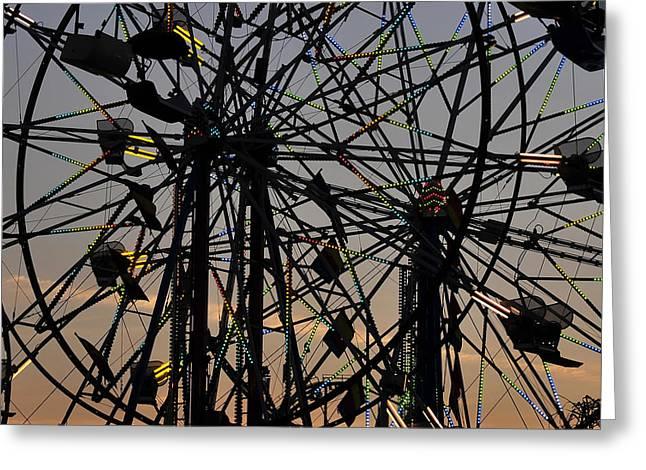 Double Ferris Wheel Greeting Card by David Lee Thompson