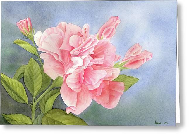 Double Hibiscus Greeting Card by Leona Jones