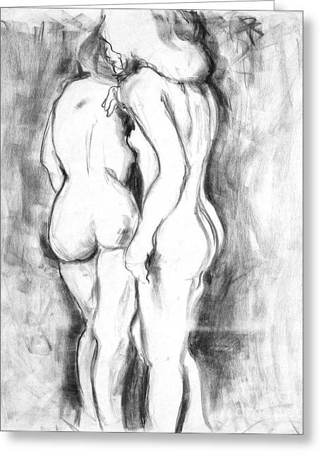 Double Nudes Greeting Card by Elena Irving