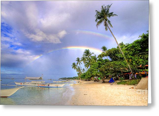 Double Rainbow At The Beach Greeting Card by Yhun Suarez