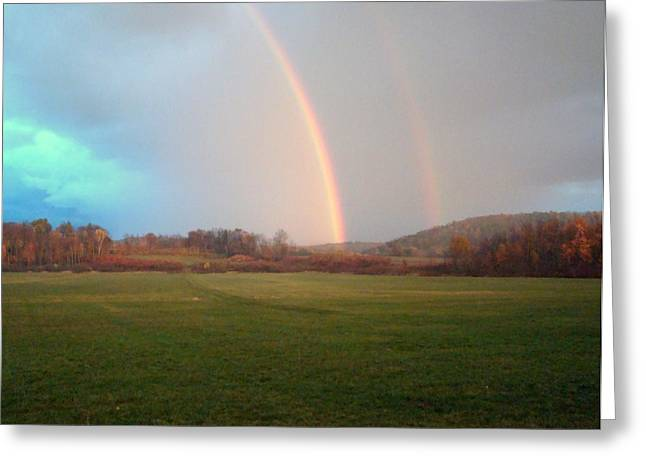 Double Rainbow In The Valley Greeting Card by Mark Haley