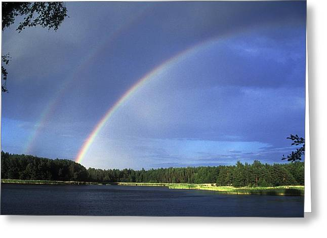 Double Rainbow Over A Lake Greeting Card by Pekka Parviainen