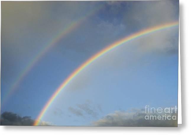 Double Rainbow Greeting Card by Sami Sarkis