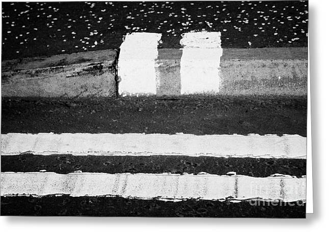 double yellow lines road and no loading kerb pavement markings in Glasgow Scotland UK Greeting Card
