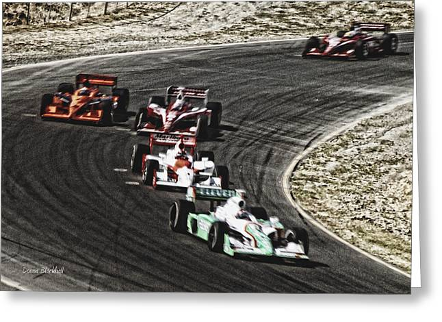 Down The Raceway Greeting Card by Donna Blackhall