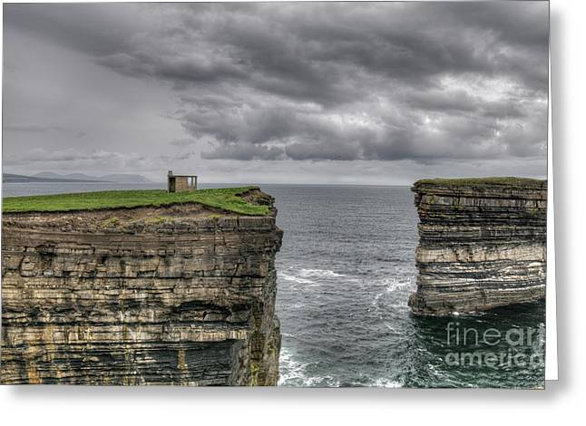Downpatrick Head Lookout Tower Greeting Card by Marion Galt