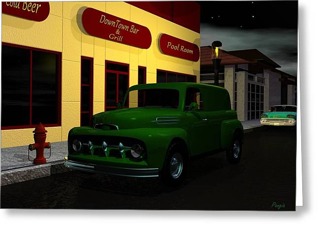 Greeting Card featuring the digital art Downtown Bar And Grill by John Pangia