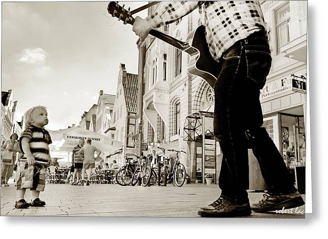 Downtown Busker Greeting Card by Robert Lacy