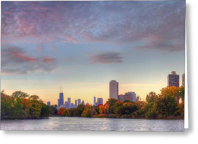 Downtown Chicago Sunrise Greeting Card by Twenty Two North Photography