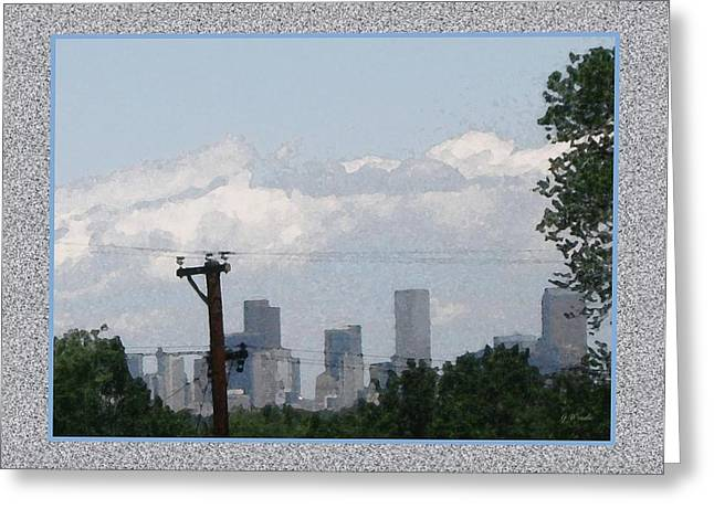 Downtown Denver Greeting Card by Gretchen Wrede