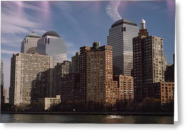 Downtown Financial District Greeting Card by Justin Guariglia