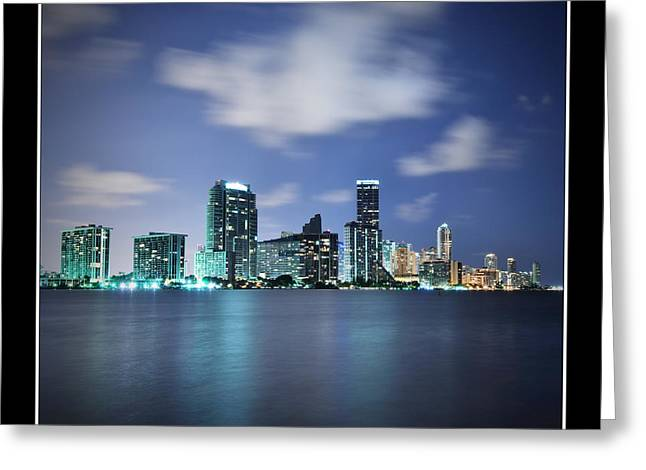 Downtown Miami At Night Greeting Card by Carsten Reisinger