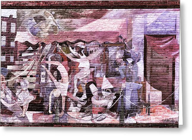 Downtown Northampton - Mural Greeting Card by HD Connelly