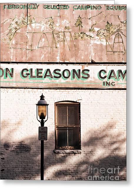 Downtown Northampton - Streetlamp And Store Greeting Card