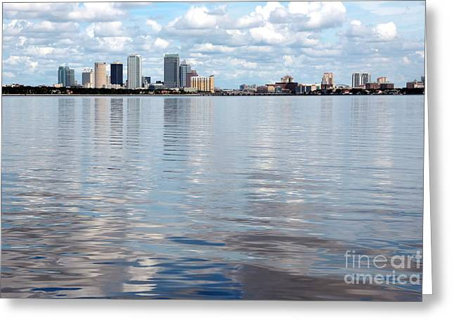 Downtown Tampa Over Hillsborough Bay Greeting Card by Carol Groenen