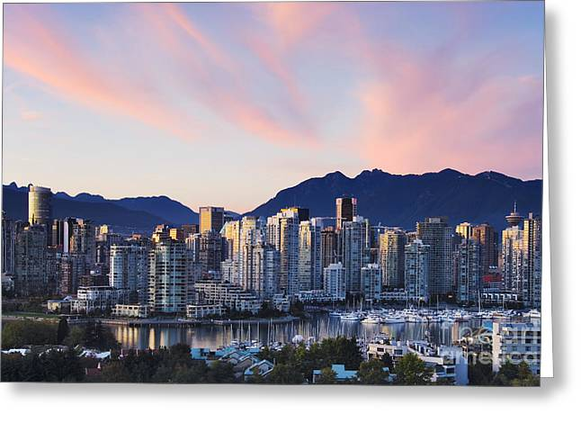 Downtown Vancouver Skyline At Dusk Greeting Card by Jeremy Woodhouse