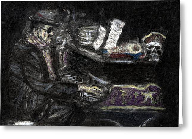 Dr. John In Charcoal And Pastel Greeting Card by Denny Morreale