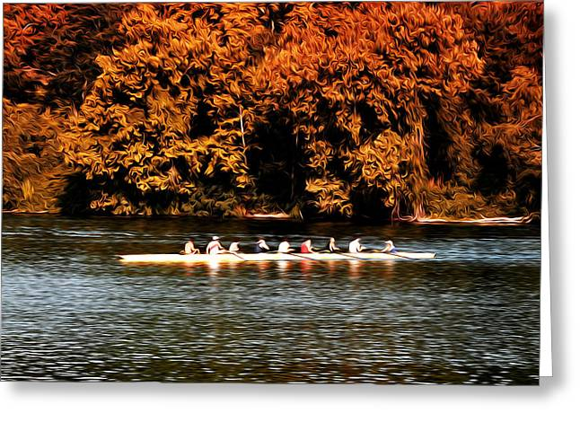 Dragon Boat On The Schuylkill Greeting Card by Bill Cannon