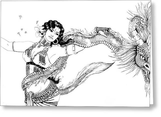 Dragon Dancer Greeting Card by Scarlett Royal