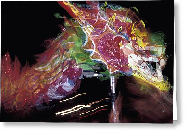 Dragon Dancing During Local Festival Greeting Card by Axiom Photographic